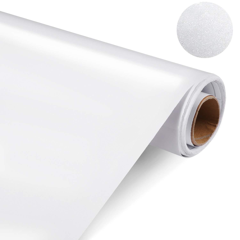 Funxim 0.6M*5M Pellicola Adesiva per Mobili, Bianco PVC Impermeabile Adesivi mobili rinnovato mobili da Cucina Autoadesivo Wall Sticker per Armadio, Tavolo, Scrivania