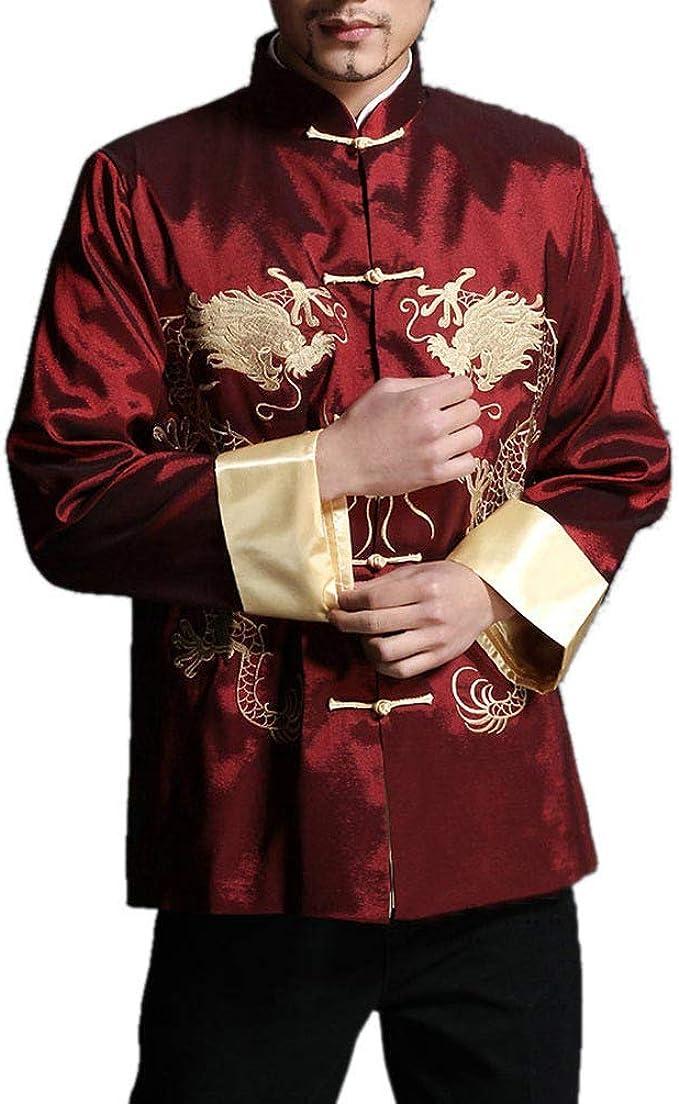Chaqueta de Kung Fu para Hombre de Color Rojo Camisa Acolchada de Dragón - 100% de Seda #105: Amazon.es: Ropa y accesorios