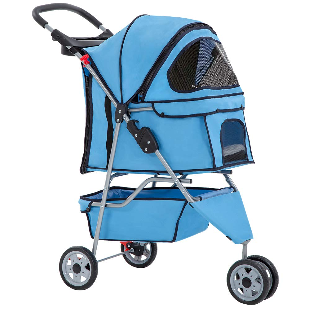 bluee New bluee Pet Stroller Cat Dog Cage 3 Wheels Stroller Travel Folding Carrier T13