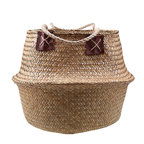 Natural Seagrass Woven Belly Basket, WCIC Laundry Basket With Handle Plant Pot Home Garden Nature Color XXL 14.96