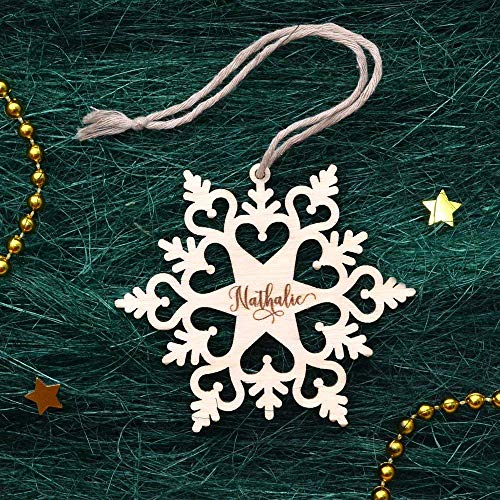 Personalized Christmas Ornaments Wooden Snowflake - Wood Christmas Decoration - Custom Snowflake Ornament - Engraved Christmas Ornaments