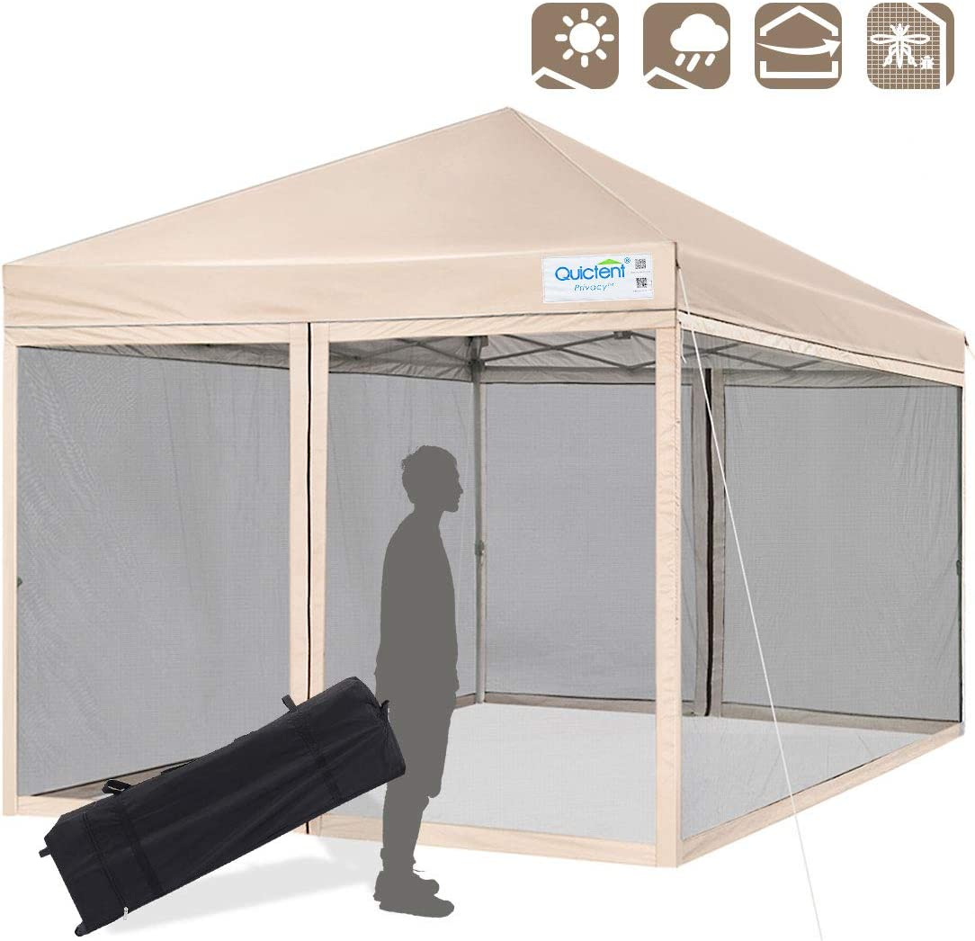 Quictent 10×10 Ez Pop up Canopy with Mosquito Netting Instant Setup Screen House Room Tent Waterproof with Roller Bag Beige
