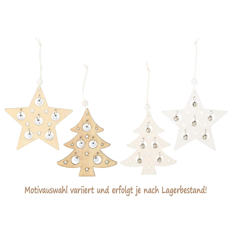 com-four/® 15x Holzanh/änger f/ür den Weihnachtsbaum 10 x 7 cm Motivauswahl variiert Holzverzierung Weihnachtsdeko mit Schneeflocken Motiv Christbaumschmuck aus Holz 15-teilig - 6.5-10cm
