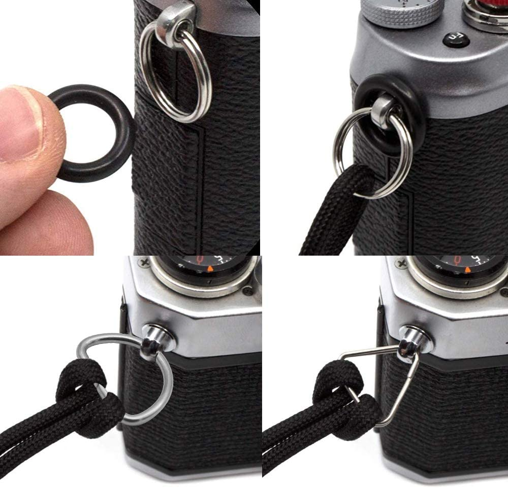 Black and Navy Blue Camera Hand Wrist Strap Universal Braided Paracord Wrist Straps with Rings Adjustable Shatter Resistant Hand Rope for Video Camcorder Binoculars Digital Camera 2 Pieces JaneYi