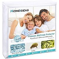 HOMEIDEAS Zippered Mattress Encasement - 100% Waterproof - Hypoallergenic, Dust Mite Proof, Bed Bug Proof Breathable Mattress Protector
