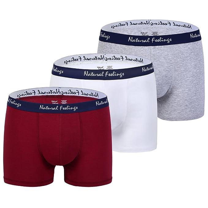 Natural Feelings Navidad Ropa interior Bóxer Hombre Boxer Shorts Algodón,Pack de 3,Gris