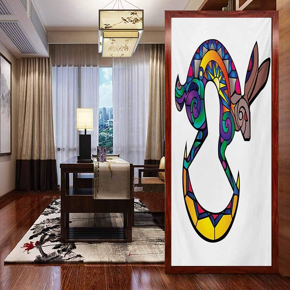 Sunscreen Glass Film Window Stickers, Southwestern Kokopelli Hare Figure Abstract Colorful Si, Static Glass Film for Bathroom Office Meeting Room Living Room, W23.6xH47.2 Inch
