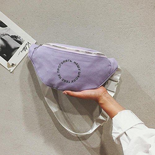 Purple Casual Belt Satchel Waist Pack Women Fanny Bag Pouch Shoulder Ecotrump Canvas Chest vqXx1Twn70