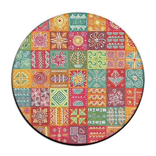 Tribal Ethnic Ornament Round Home Doormat Entrance Entry Way Front Door Mat Ground 23.6 Inch Rugs For Decor Decorative Men Women Office by Homedecor