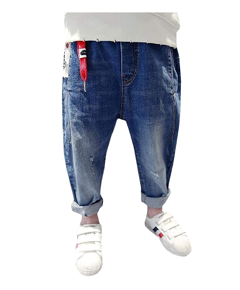 Etecredpow Boys Jeans Casual Elastic Waist Jean Hole Trousers Pants