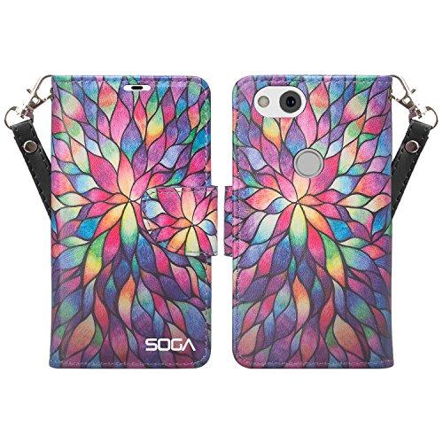 Google Pixel 2 Case, SOGA [Pocketbook Series] PU Leather Magnetic Folio Flip Kickstand Design Wallet Case for Google Pixel 2 - Rainbow Flower