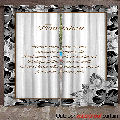 RenteriaDecor Home Patio Outdoor Curtain Frame of Monochrome Colors for Design Postcards Greeting Invitation for a Birthday Valentine s Day Wedding Party Holiday W72 x ()
