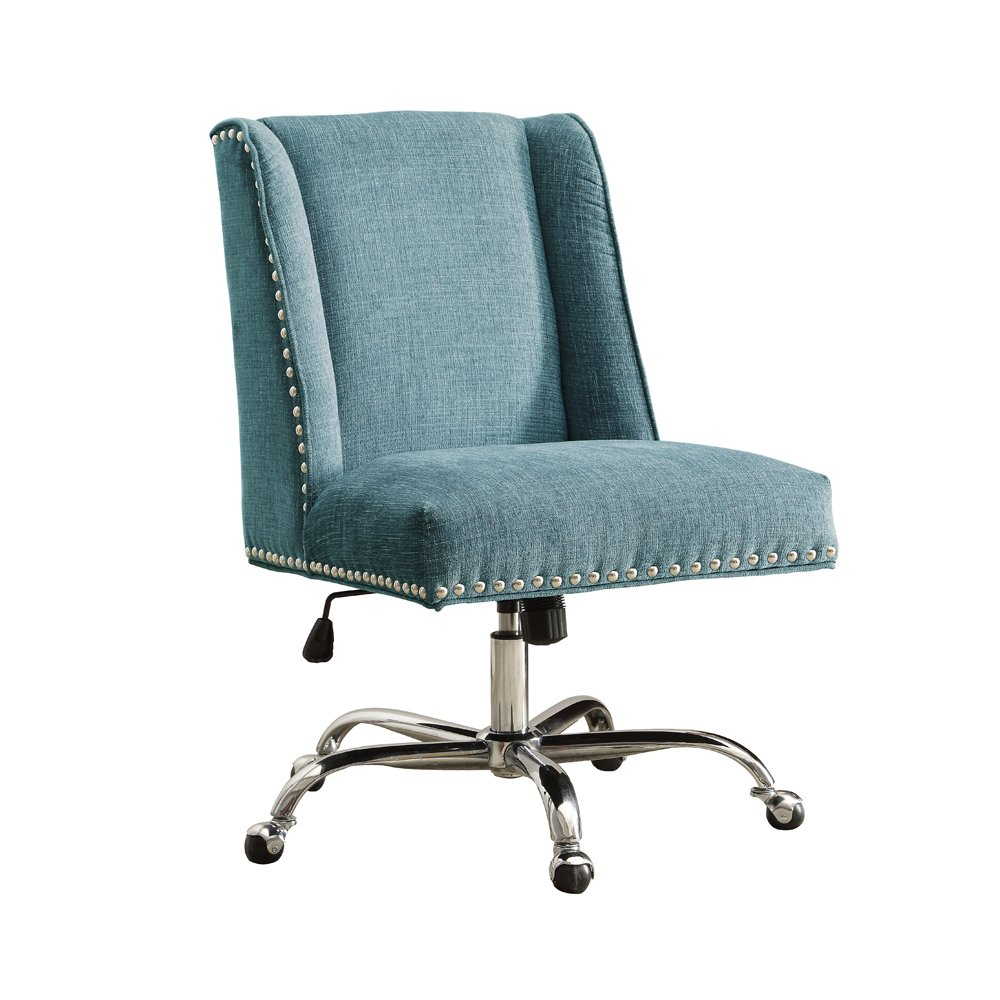 Linon AMZN0242 Clayton Aqua Office Chair, Metallic