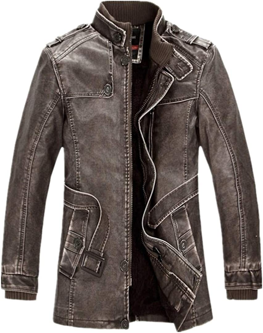 Jeifenailt Men Thicken Leather Suede Jackets Fleece Lined Stand Collar Long Coats Motorcycle Casual Slim Leather Jacket
