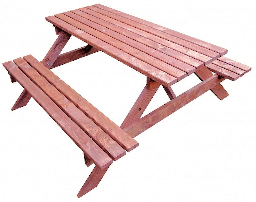 Massivholz Picknickset Sitzgruppe , Gartenbank + Gartentisch , Fb. Nuss