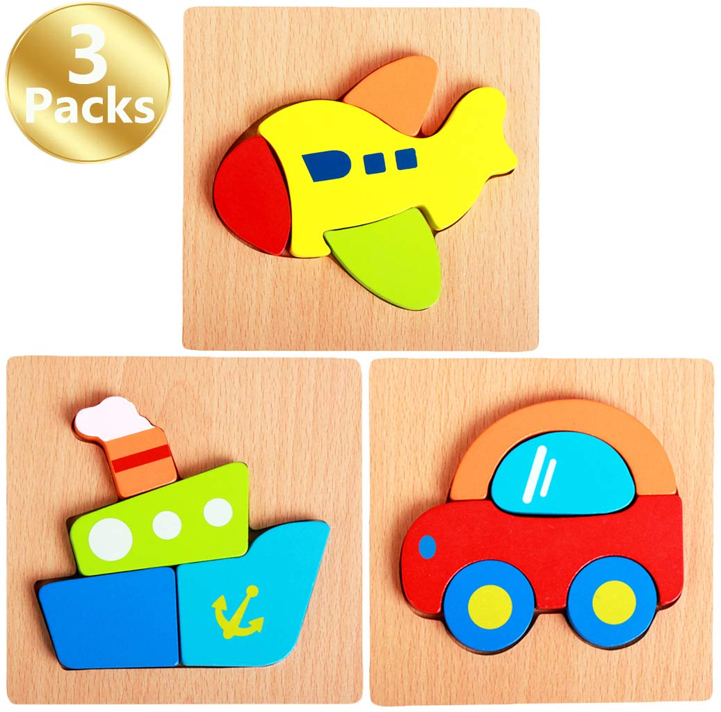 3 - Pack Cartoon Vehicleシリーズ木製ジグソーパズルセット、5.9 X 5.9in wj-00045-01  A(steamer,car,plane) B07C37GHXY