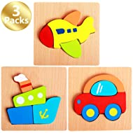 Zocita 3-Pack Cartoon Vehicle Series Wooden Jigsaw Puzzle Sets, 5.8x5.8in