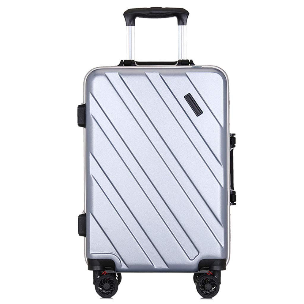 GLJJQMY トロリーケースファッションアルミフレームトロリーケースミュートキャスター荷物スーツケース トロリーケース (Color : Silver gray, Size : 20 inches) B07SMMPC4M Silver gray 20 inches