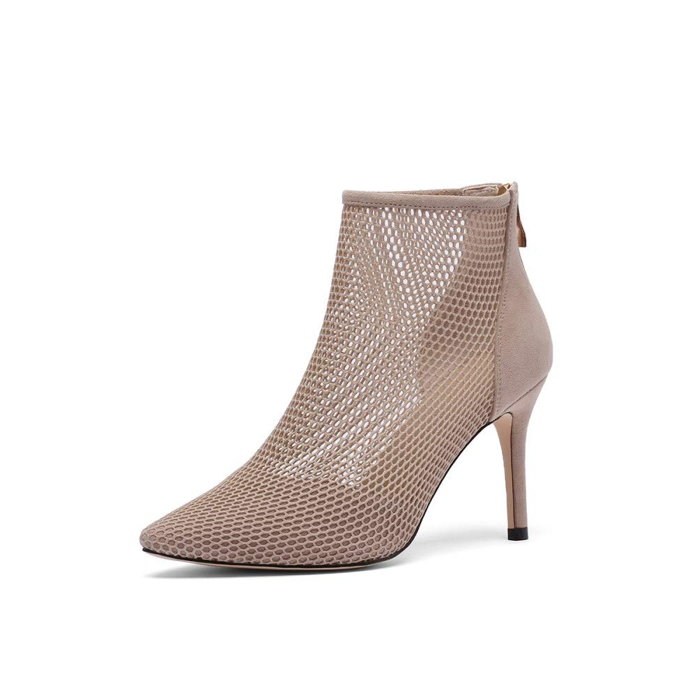 Apricot Nine Seven Women's Suede Leather Pointed Toe High Stiletto Heel Handmade Elegant Perforated Back Zipper Dress Ankle Boots