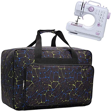 Travel Portable Padded Sewing Bag Storage Cover Carrying Case with Pockets and Handles Black Sewing Machine Tote Bag