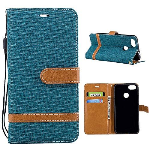 Grandcaser Funda para Huawei P9 Lite,Double Layer Protectora Funda Suave Stitch Denim Leather Cuero Libro Flip Estuche de Silicona Bumper Flexible Cover Carcasa - Azul Oscuro Verde