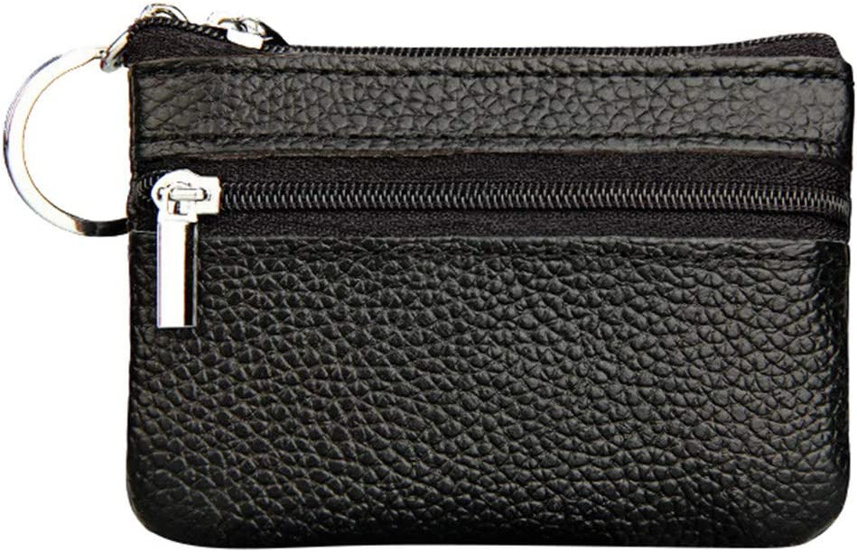 Radorock New Women's Mini Coin Purse Leather Zipper Pouch with Key Ring Small Wallet