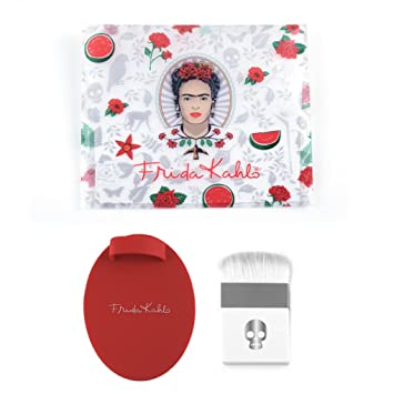 Amazon.com: Frida Kahlo Professional Makeup Brush Kit with Flat Contour Highlighter Brush, Brush Cleaner and Cosmetic Bag - LIMITED EDITION: Beauty