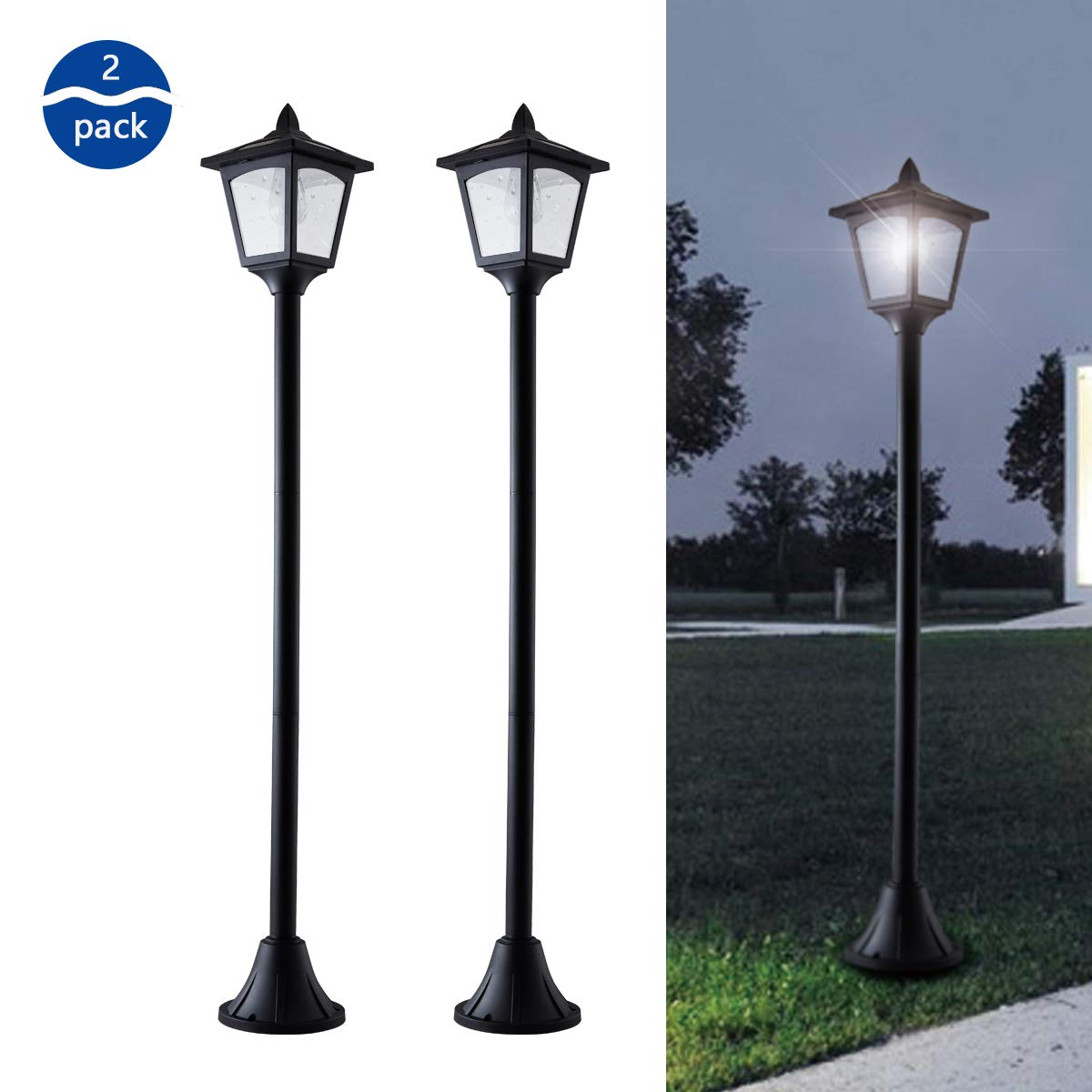 42 Inches Mini Street Post Outdoor Garden Solar Lamp Post Light Lawn - Adjustable (2 Pack) by Solar Smart Creations