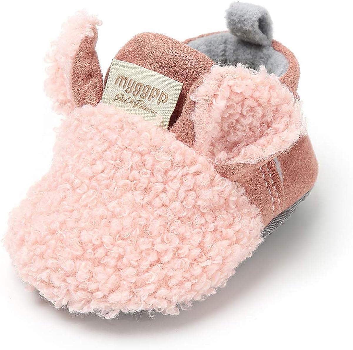 Sakuracan Infant Baby Boys Girls Slippers Non Slips Bottom Winter Booties Stay On Newborn Crib House Shoes
