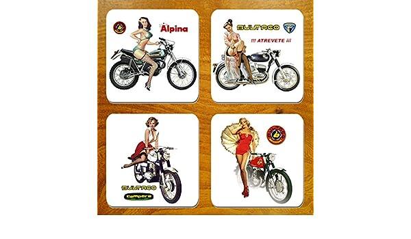 Vintage Español motocicletas & chicas anuncios moto juego de 4 ...