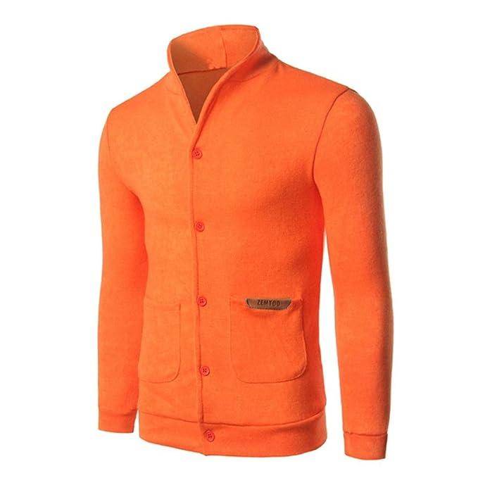 letter, Chaqueta de hombre de la moda de manga larga corta diseñado chaqueta de rebeca (XXL, Naranja): Amazon.es: Ropa y accesorios
