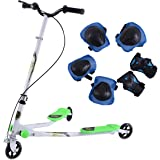 COSTWAY Medium/Large Kids 3 Wheel Swing Scooter Foldable Tri Motion Winged Push Scooter Trike Slider Striker Drifter Speeder Kick Scooter W/Free Protector Brake For Age 7+