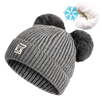 Unisex Baby Winter Hat Cute Warm Knit Fleece Lined Skull Cap Soft Crochet Beanie  Hats with d00b4bd3cdd