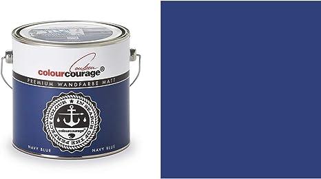 2 5 Liter Colourcourage Premium Wandfarbe Navy Blue Blau Maritimblau L709449585 Geruchslos Tropf Und Spritzgehemmt Küche Haushalt