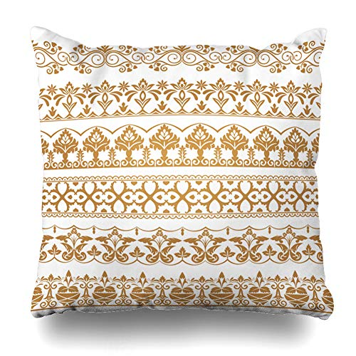 Ahawoso Throw Pillow Cover Golden Abstract Dividers East Antique Set Arabesque Baroque Border Design Premium Home Decor Pillowcase Square Size 16 x 16 Inches Zippered Cushion Case