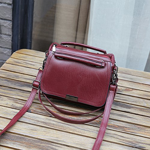 22cm Single Ome Shoulder 13 Pink 28 18cm Slung Bag Bag Woman 13 Qiumei Wine amp; 24 Red wtqq1xRPT