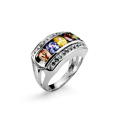c18d158ef9d5 Rainbow ring with multi-925AG SWAROVSKI Elements by