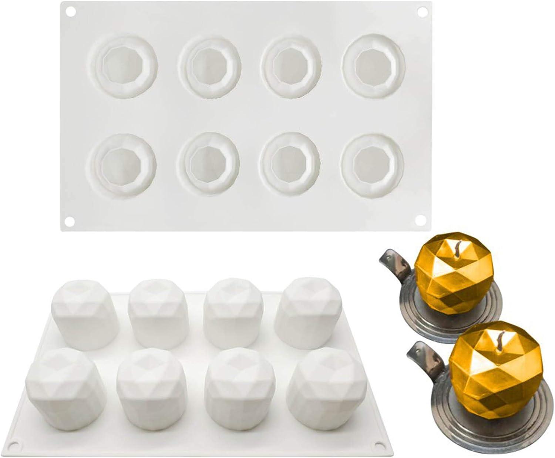 Diamond Apple Shape Molds Baking for Mousse Cake, 3D Baking Molds Dessert Molds for Pastry Truffle Pudding Jelly Cheesecake, 8-Cavity