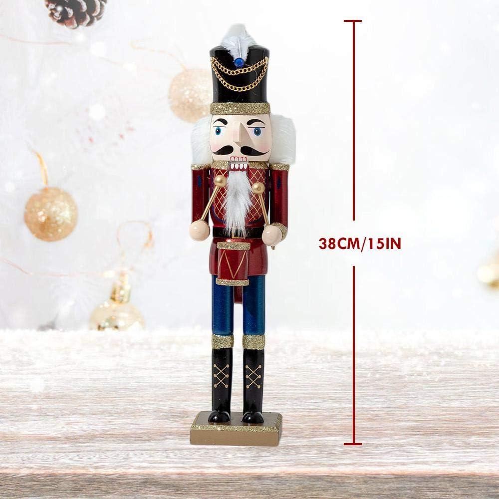 lesgos Casse Noisettes Noel Grande Figure De Collection sur Socle pour Enfants No/ël Cadeaux De F/ête D/écoration De Casse Noisette Soldat en Bois De 15 inch