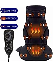 Relief Expert 10-Motor Vibrating Car Seat Back Massager Chair Pad with Heat, 5 Modes for Car, Home, Office