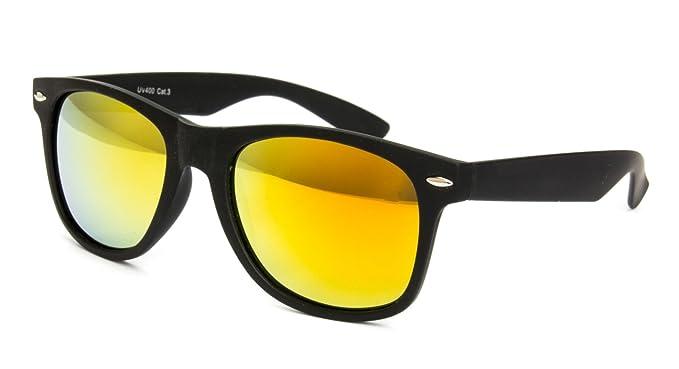 Nerdbrille Hornbrille Retro Nerd Sonnenbrille schwarz verspiegelt