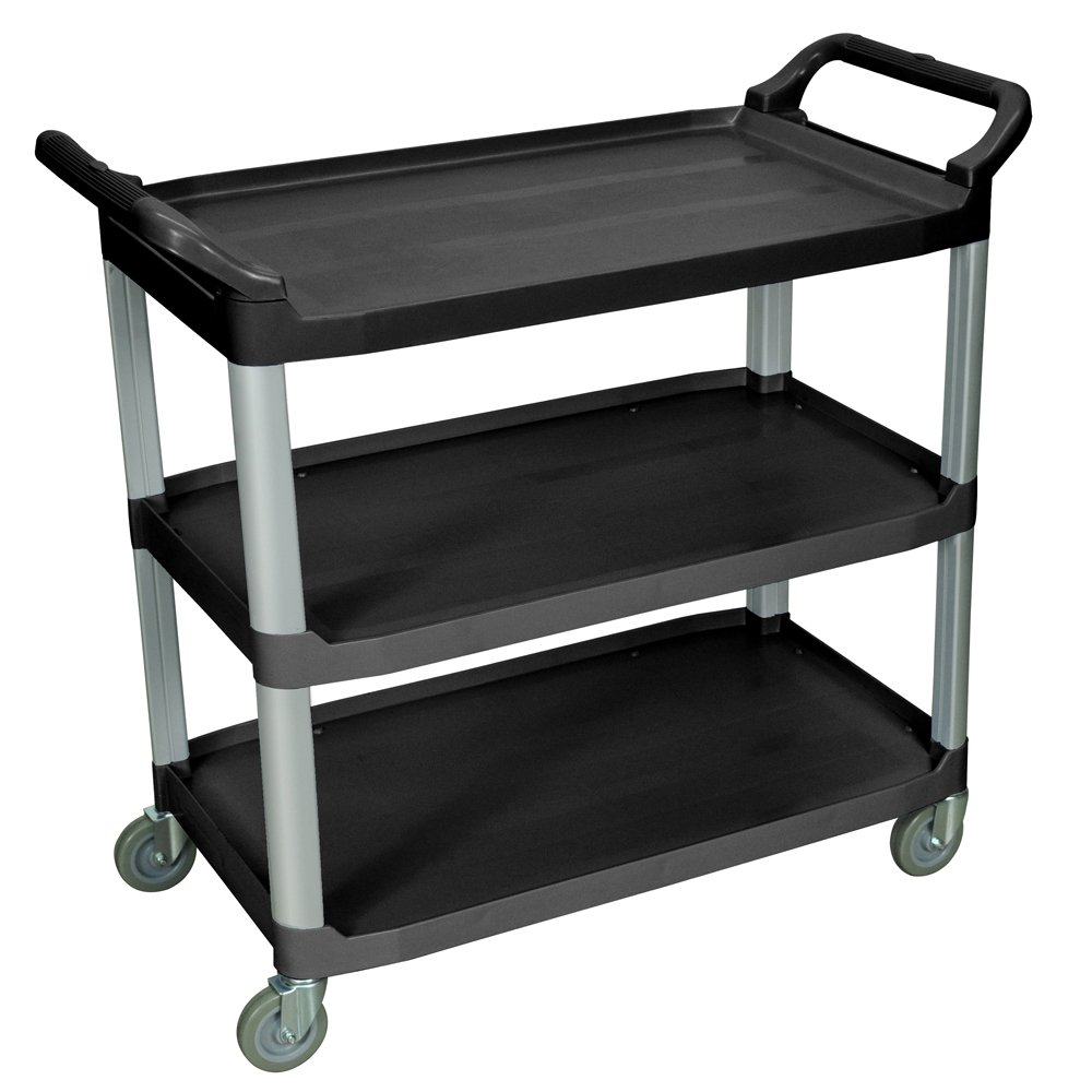 Luxor Home Office Large Multipurpose Three Shelves Serving Cart, Black by Luxor