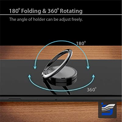 Phone Ring Holder Finger Kickstand 360 Degrees Rotation 180 Degrees Fold Metal Ring Grip for Magnetic Car Mount Compatible with All Types Smartphones Golden (Black)