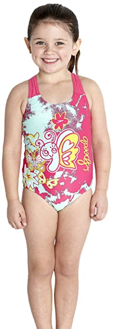 Speedo Essential - Costume da bagno intero da bambina, rosso (Pop ...