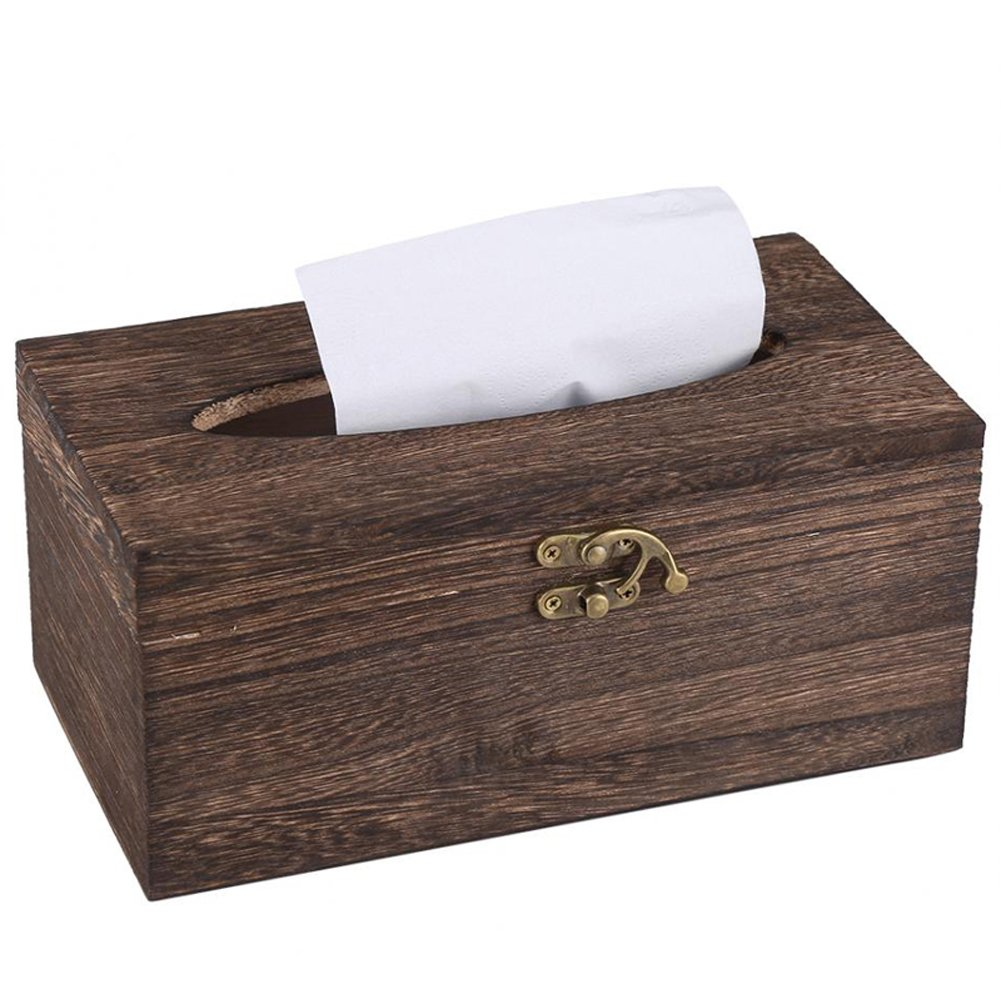 Ireav Wood Storage Tissue Box Car Home Rectangle Shaped Tissue Box Container Towel Napkin Tissue Dispenser Organizer Holder