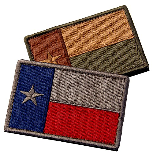 Bundle 2 Pieces - EmbTao Texas Embroidered Tactical Fastener Hook&Loop Patch