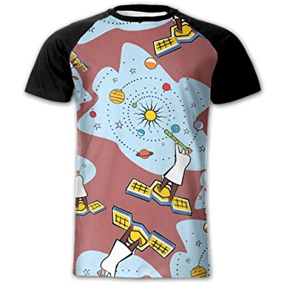 Astronomy Telescope Cartoon Men Graphic Casual Raglan Short Sleeve Baseball Tops Tees