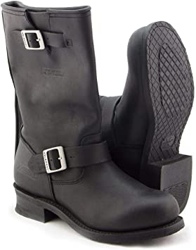 Black Engineer Motorcycle Leather Boots