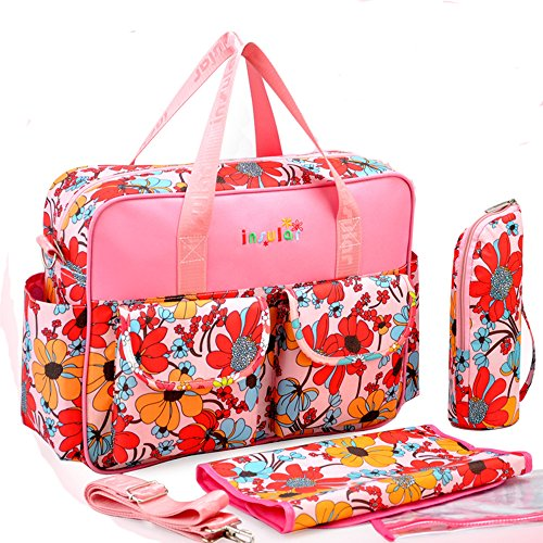 Insular Baby Mommy Diaper Tote Bag With Shoulder Strap Vintage Nappy Bags Floral Red
