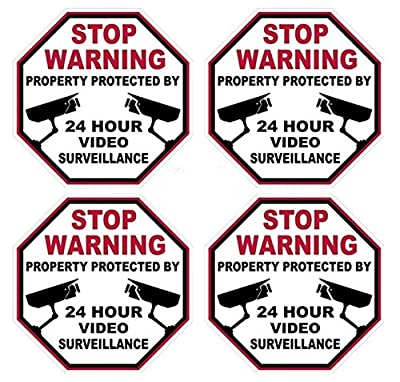"4 Pcs Persuasive Unique Stop Warning Property Protected By 24 Hour Video Surveillance Sticker Signs 24Hr Business Fence Yard Doors Security Decor Outdoor Lawn Pole Poster Sign Hr Decals Size 3""x3"""
